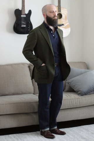 51 Label Style Talk - Suit Jacket with Denim Jeans and Dark Brown Double Monk Strap Shoes