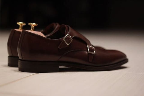 Haste Chocolate Brown Double Monk Strap Shoes with Cedar Wood Shoe Trees