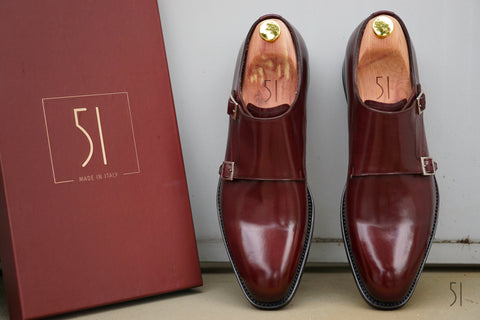 Haste Men's Burgundy Double Monk Strap Shoes - 51 Label