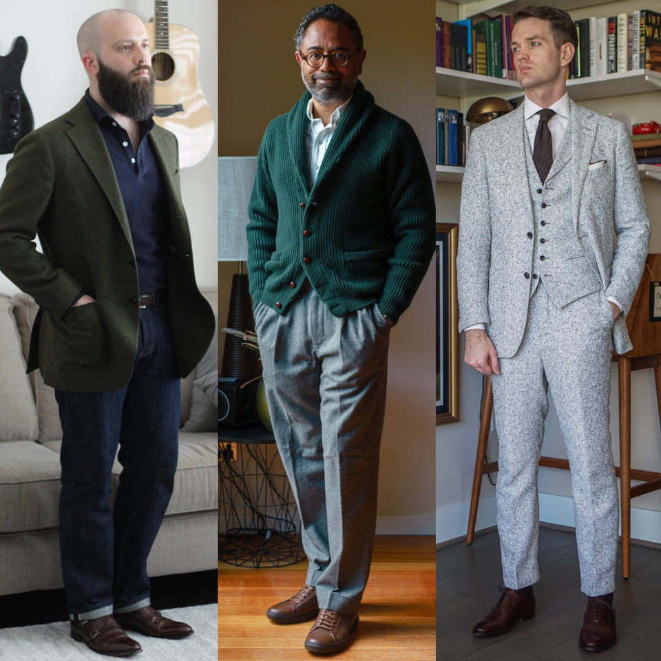 Menswear models in tailored menswear and leather dress shoes or dress sneakers