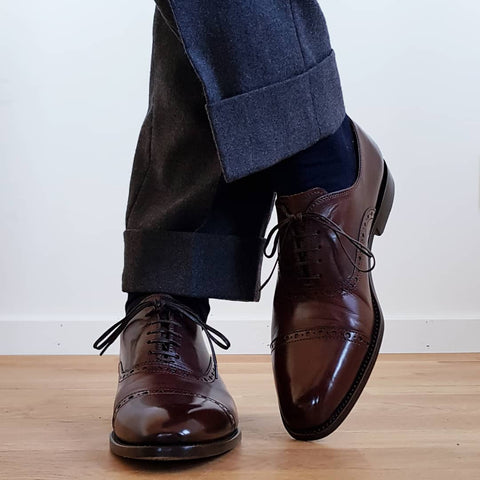 51 Style Talk - Linus Norrbom in Borins Semi Brogue Oxford Shoes in Chocolate paired with Flannel Grey Trousers