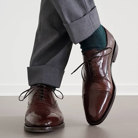 51 Style Talk - Linus Norrbom in Borins Semi Brogue Oxford Shoes in Chocolate paired with light grey wool blend trousers