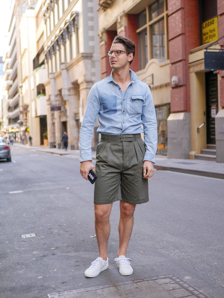 Steve_Calder_in_Vintage_Denim_Shirt_and_Suede_Yogurt_White_Sneakers