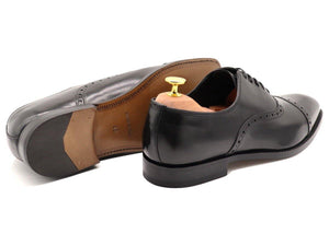 Back View of Mens Black Leather Semi Brogue Oxford Shoes