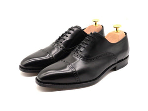 Mens Black Leather Semi Brogue Oxford Shoes