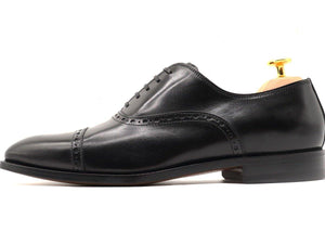 Side View of Mens Black Leather Semi Brogue Oxford Shoes