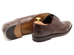 Back View of Mens Dark Brown Leather Semi Brogue Oxford Shoes