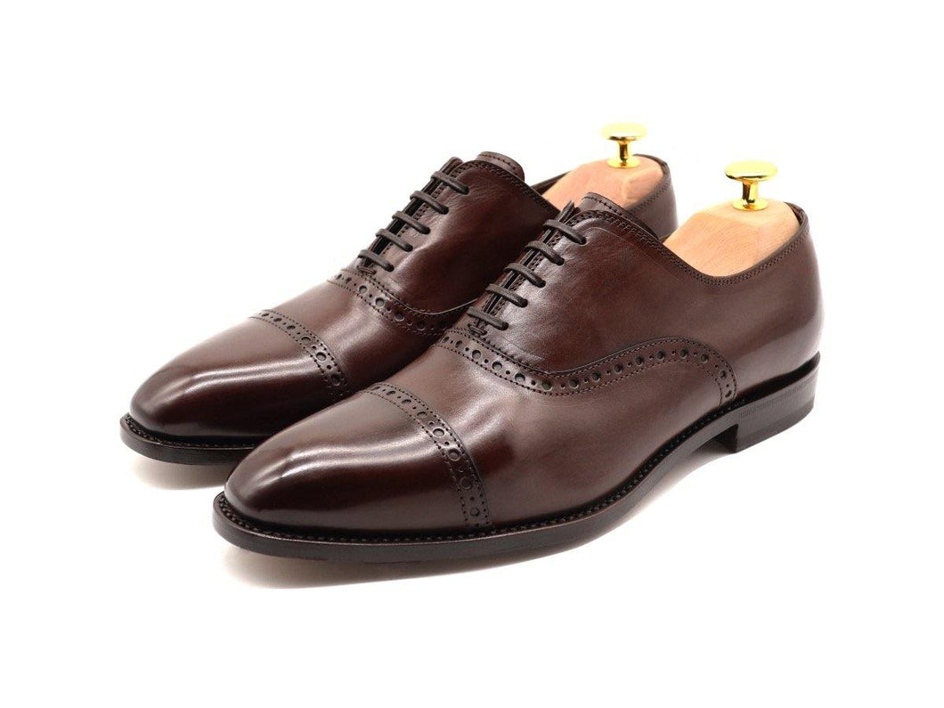 Mens Dark Brown Leather Semi Brogue Oxford Shoes