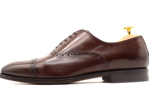 Side View of Mens Dark Brown Leather Semi Brogue Oxford Shoes