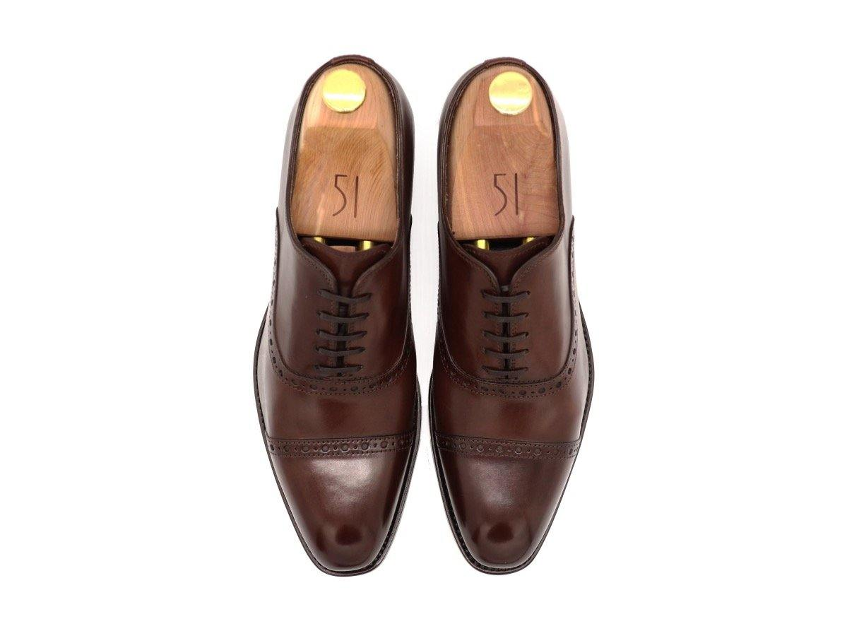 Top View of Mens Dark Brown Leather Semi Brogue Oxford Shoes
