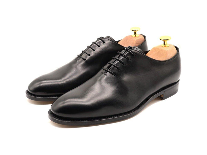 Mens Black Leather Wholecut Oxford Shoes