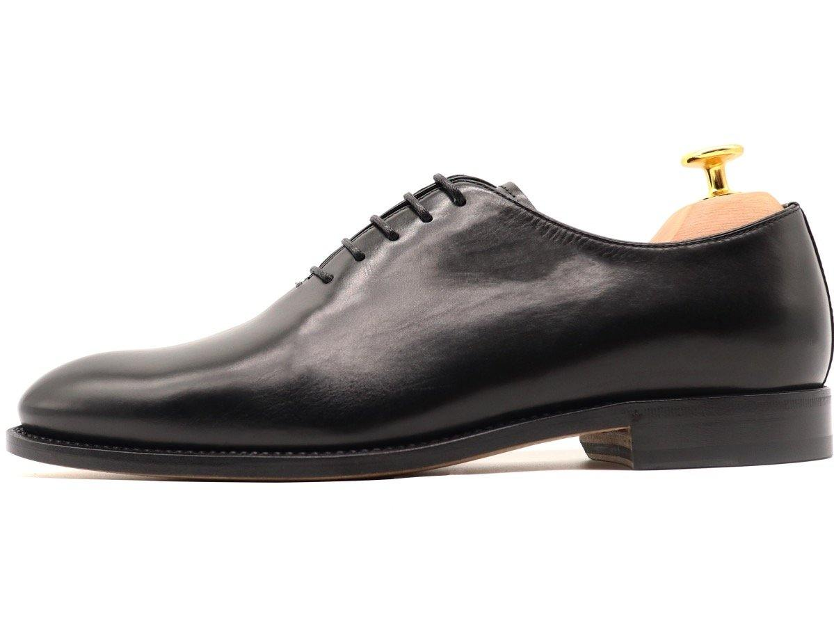 Side View of Mens Black Leather Wholecut Oxford Shoes