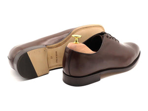Back View of Mens Dark Brown Leather Wholecut Oxford Shoes