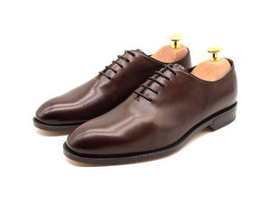 Mens Dark Brown Leather Wholecut Oxford Shoes