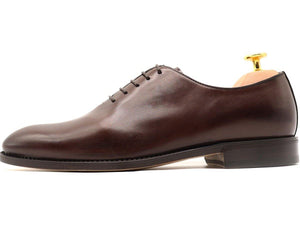 Side View of Mens Dark Brown Leather Wholecut Oxford Shoes