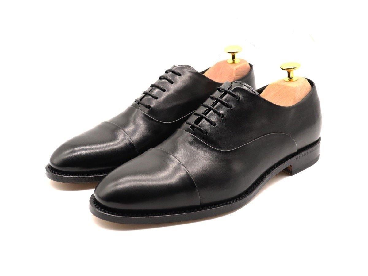Mens Black Leather Cap Toe Oxford Shoes