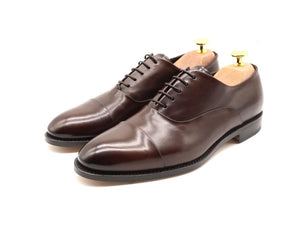 Mens Dark Brown Leather Cap Toe Oxford Shoes