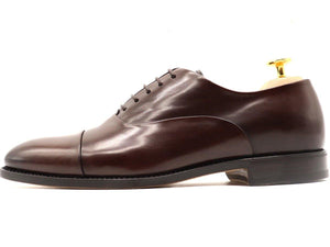 Side View of Mens Dark Brown Leather Cap Toe Oxford Shoes