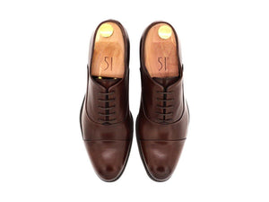 Top View of Mens Dark Brown Leather Cap Toe Oxford Shoes