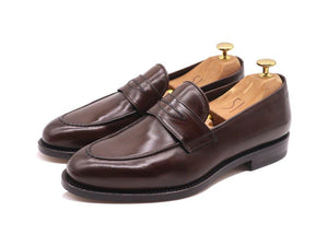 Front_View_Of_Dejon_Dark_Brown_Leather_Penny_Loafers