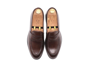 Top_View_Of_Dejon_Dark_Brown_Leather_Penny_Loafers