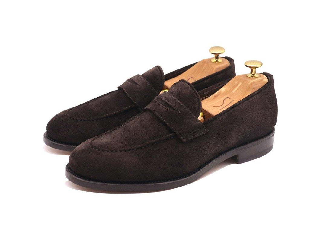 Front_View_Of_Dejon_Dark_Brown_Suede_Penny_Loafers