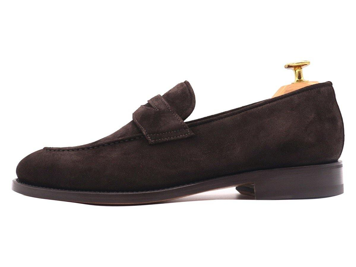 Side_View_Of_Dejon_Dark_Brown_Suede_Penny_Loafers