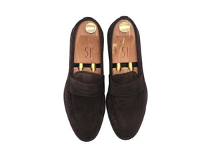 Top_View_Of_Dejon_Dark_Brown_Suede_Penny_Loafers