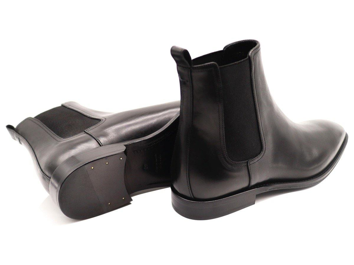Back View of Mens Black Leather Chelsea Boots