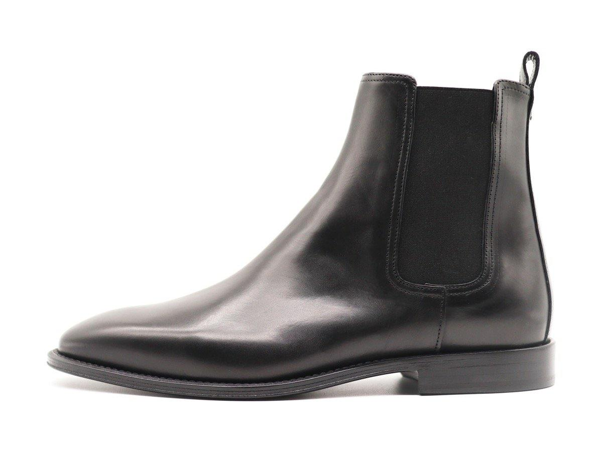 Side View of Mens Black Leather Chelsea Boots