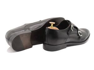 Back View of Mens Black Leather Double Monk Strap Shoes