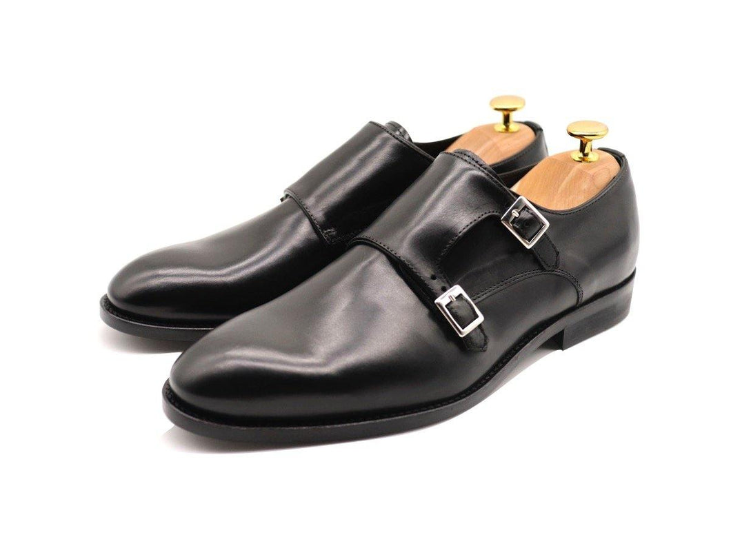 Mens Black Leather Double Monk Strap Shoes