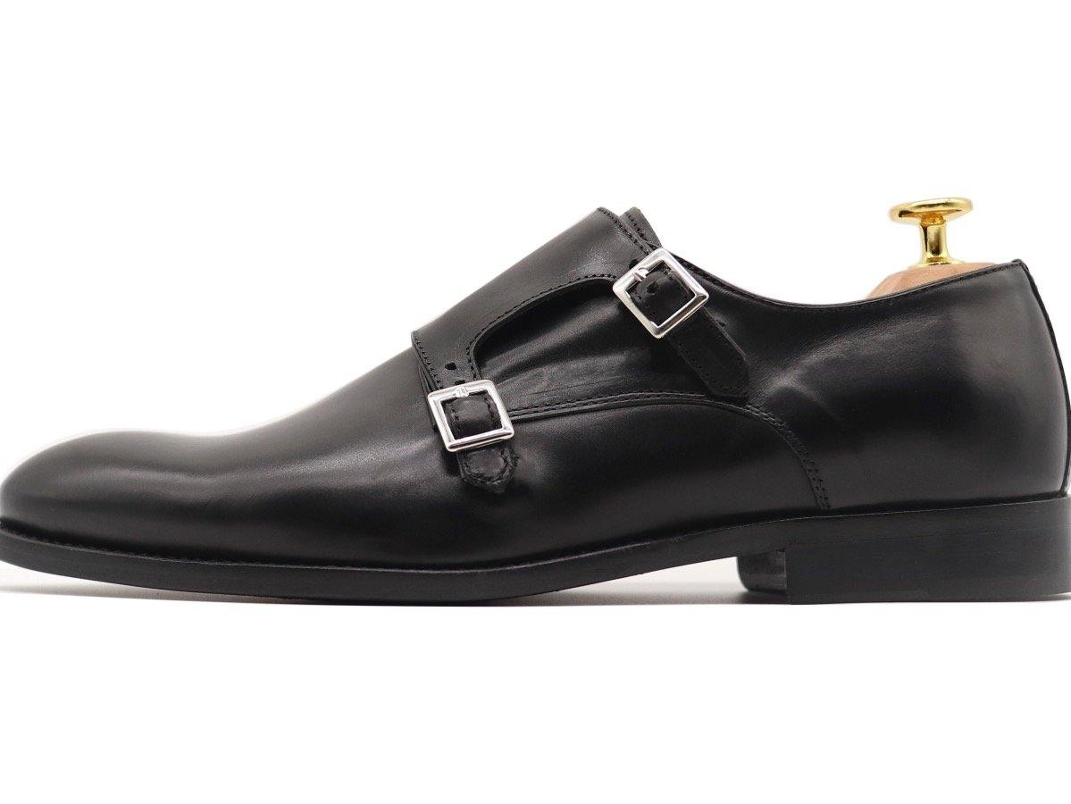 Side View of Mens Black Leather Double Monk Strap Shoes