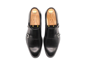 Top View of Mens Black Leather Double Monk Strap Shoes