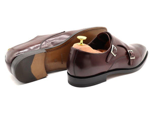 Back View of Mens Burgundy Leather Double Monk Strap Shoes