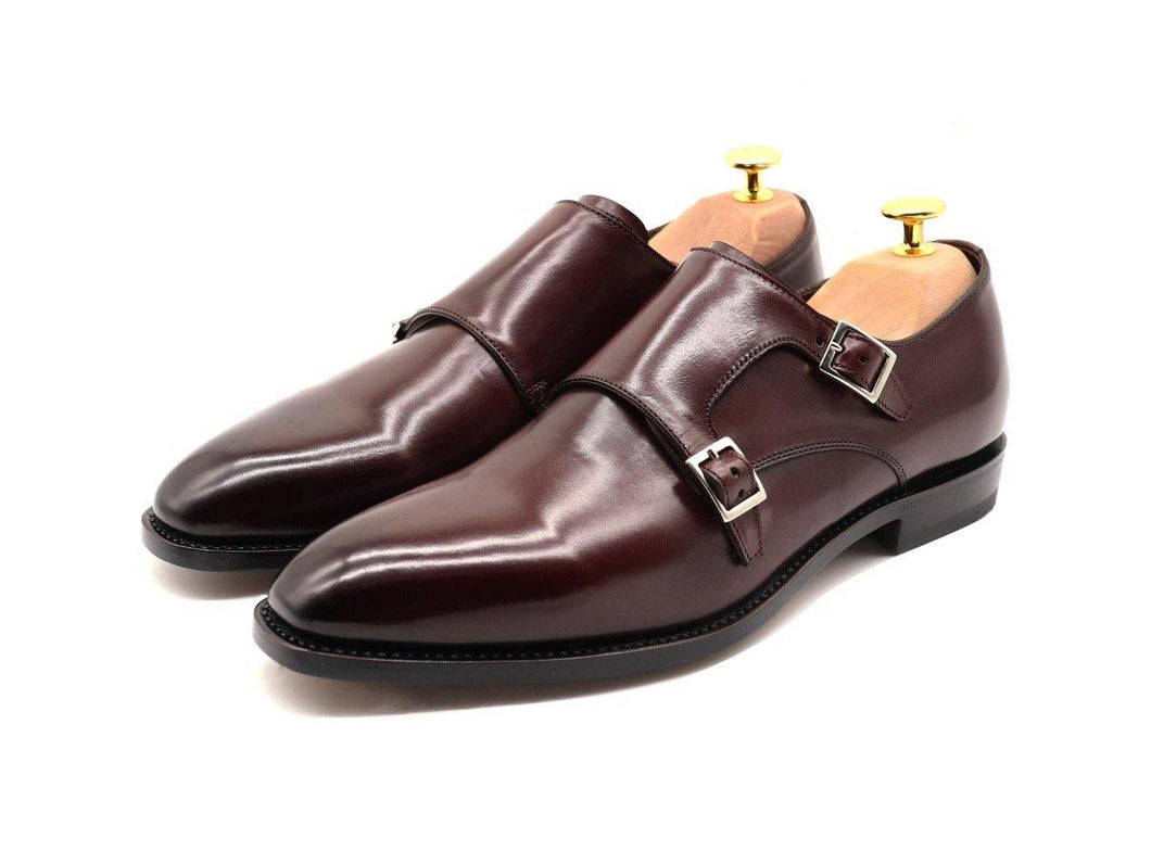 Mens Burgundy Leather Double Monk Strap Shoes