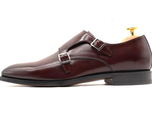 Side View of Mens Burgundy Leather Double Monk Strap Shoes