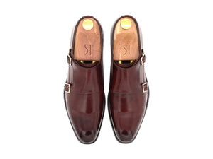 Top View of Mens Burgundy Leather Double Monk Strap Shoes