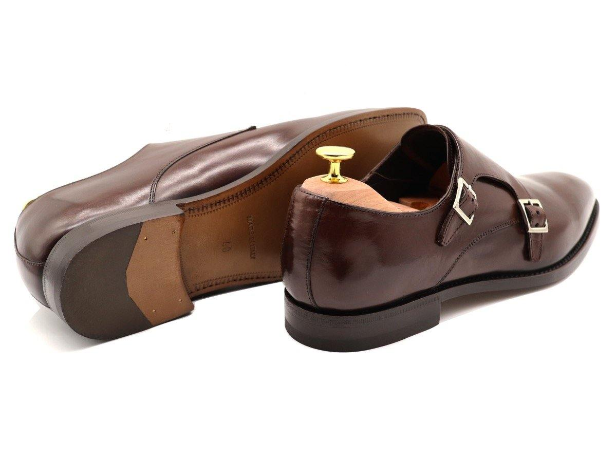 Back View of Mens Dark Brown Leather Double Monk Strap Shoes