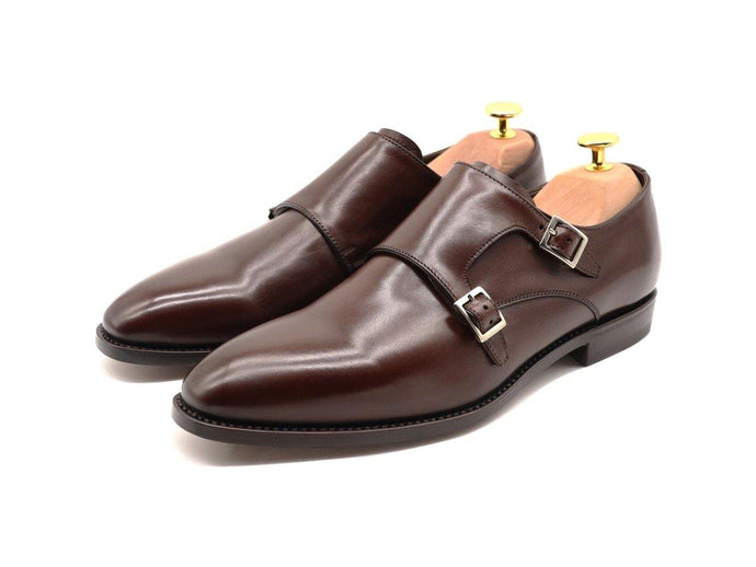 Front View of Mens Dark Brown Leather Double Monk Strap Shoes