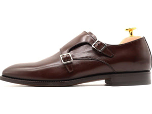 Side View of Mens Dark Brown Leather Double Monk Strap Shoes