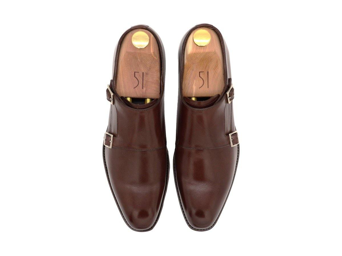 Top View of Mens Dark Brown Leather Double Monk Strap Shoes
