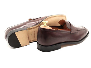 Back View of Mens Burgundy Leather Penny Loafers