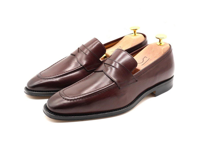 Mens Burgundy Leather Penny Loafers