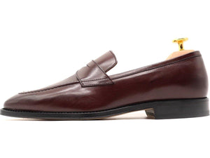 Side View of Mens Burgundy Leather Penny Loafers