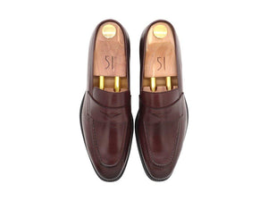 Top View of Mens Burgundy Leather Penny Loafers