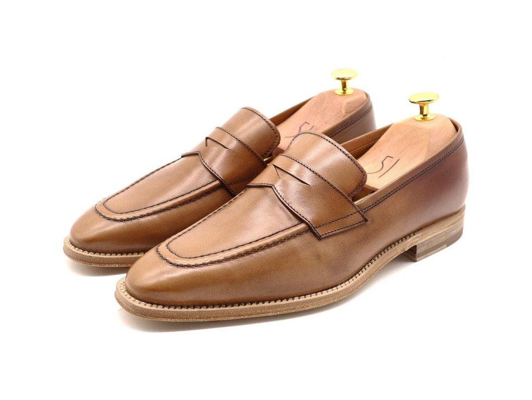 Mens Tanned Brown Leather Penny Loafers