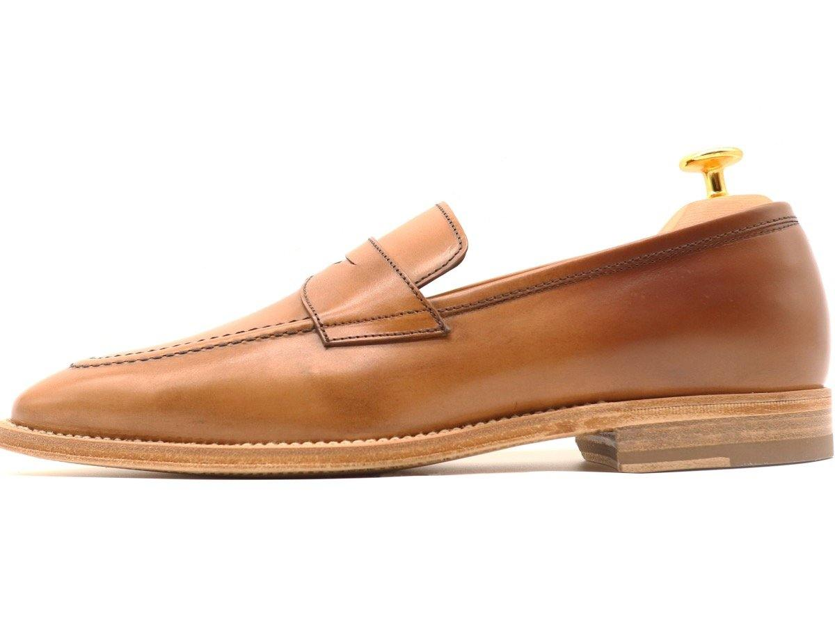 Side View of Mens Tanned Brown Leather Penny Loafers