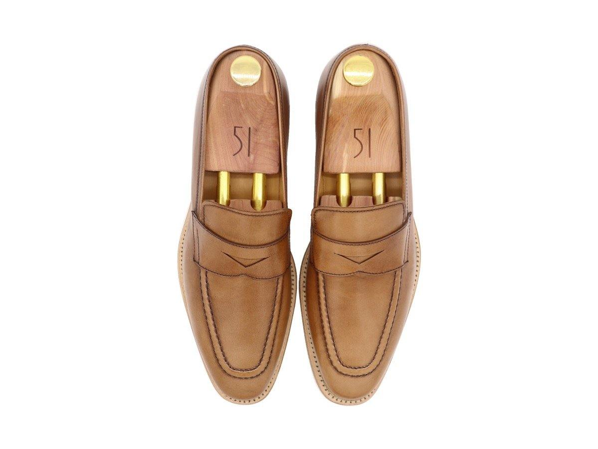 Top View of Mens Tanned Brown Leather Penny Loafers