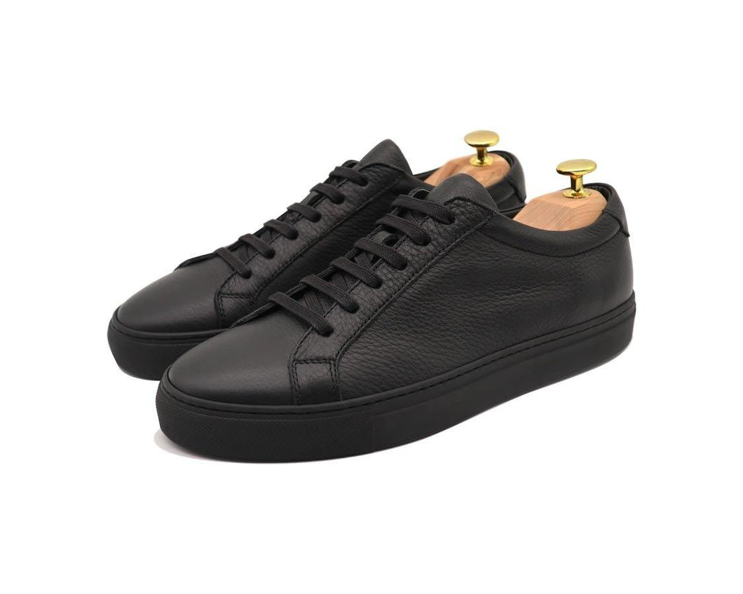 Tomlins Men's Leather Low Top Sneakers - Black Grain